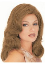 Mid-Length Front Lace Human Hair Wavy Wig