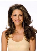 Long Wavy Brown Human Hair Lace Front Wig