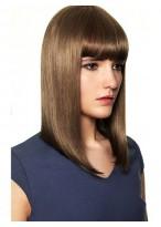 Shoulder Length Sleek Straight Human Hair Wig