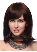 Capless Medium Straight 100% Human Hair Wig