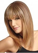 "16"" Length Human Hair Capless Wig With Full Bang"