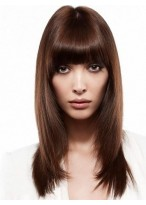 Remy Human Hair Capless Wig with Bangs