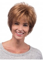 Short Hair Layered Human Hair Lace Front Wig With WispyBangs and Tapered Nape