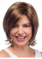 Collar Length Layered Human Hair Wig With Flicked Ends