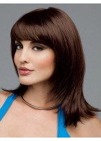 Long Smooth Layers Style With Flipped Ends Face Framing Bangs Human Hair Wig