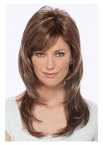 Long Straight Razor Cut Human Hair Wig With Textured Bangs
