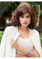 Collar Length Human Hair Lace Front Mono Top Wavy Wig