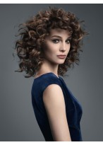 Blown-up Hair Bouncy Curly Remy Human Hair Mid-Length Wig