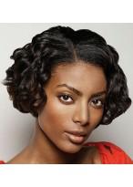 "10"" Medium Length Remy Human Hair Wavy Full Lace Wig"