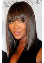 Natual Straight Medium Length Remy Human Hair Full Lace Wig