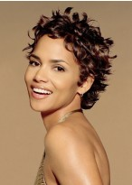 Short Brown Remy Human Hair Wavy Full Lace Wig