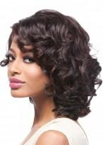 Black Pretty Medium Length Remy Human Hair Curly Women Wig