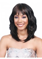 Medium Length Wavy Lace Front 100% Remy Human Hair Wig