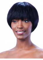 Short Black Thick Capless Remy Human Hair Wig