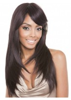 Long Lace Front Straight Women Wig With Side Bangs