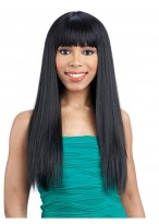"22""Straight Full Lace Wig With Neat Bangs"