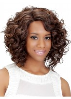 Remy Human Hair Medium Length Curly Capless Wig