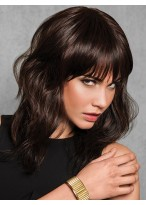 Sexy Brown Remy Human Hair Medium Length Full Lace Wig