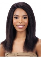 100% Remy Human Hair Black Natural Straight Lace Front Wig