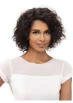 Remy Human Hair Curly Medium Length Machine Made Wig