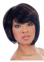 Asymmetrical Bob Side Swept Bangs Synthetic Wig