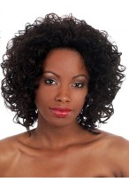 Sophisticated Curly Synthetic Medium Length Wig