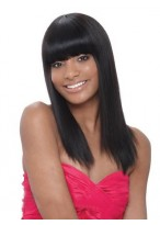 Natural Black with Full Bangs about 16 Inches 100 Human Hair