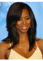 Synthetic Natural Straight Lace Front African American Wigs