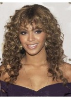 European Style Long Curly Brown African American Lace Wigs for Women