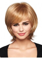 Mid-Length Straight Chic Layers Synthetic Wig