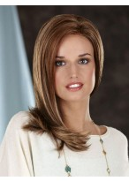 Shoulder Length Centre Parting Lace Front Synthetic Straight Wig