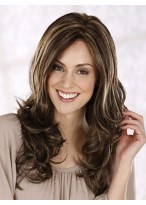 Long Centre Parting Layerd Wavy Lace Front Synthetic Wig