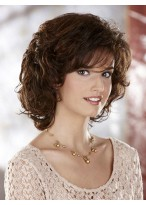 Medium Length Synthetic Wig with Side Swept Fringe