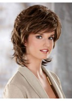 Collar Length Synthetic Wig With Flicked Out Ends