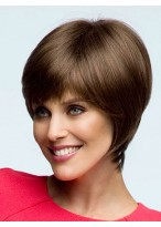 Tapered Bob with Feathered Fringe Bangs Synthetic Wig