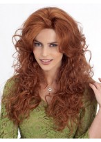 Synthetic Long Length Voluminous Curls Sweept Bang Wig