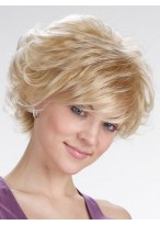 Voluminous Soft Curls Style With Side Swept Bangs Synthetic Wig