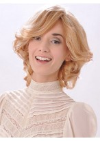 Medium Collar Length Lightly Layered Wavy Synthetic Wig