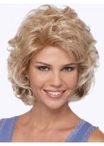 Medium Length Voluminous Curls Side Swept Bangs Synthetic Wig