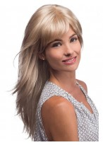 Long Smooth Flicked Layers Synthetic Wig With Face Framing Bangs