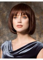 Chin Length Bob Style Synthetic Wig With Full Bangs
