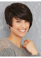 Black Short Capless Synthetic Wig With Side Bangs
