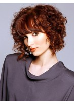 Medium Length Big Curly Capless Wig With Bangs