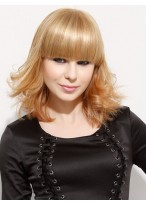 Medium Length Synthetic Wig With Neat Bangs