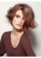 Side Bangs Medium Length Curly Synthetic Wig