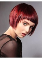Red Fashion Short Machine Made Synthetic Wig With Neat Bangs