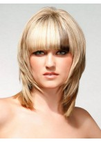 Medium Length Synthetic Wig With Side Bangs