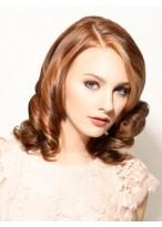 Curly Bangs Medium Length Synthetic Wig