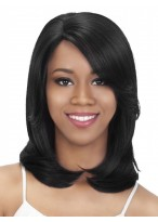 Black Synthetic Silky Straight Medium Length Wig
