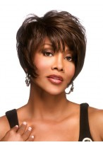 Straight Brown Short Capless Synthetic Wig